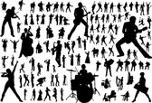 Music vector silhouettes — ストックベクタ