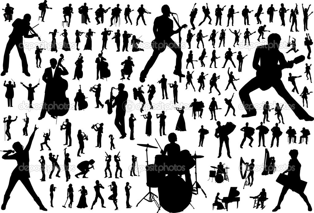 Black silhouettes of musicians. Vector illustration — Stock Vector #5430225