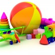 Plane, train, pyramid and ball - Foto Stock
