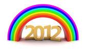 2012 under rainbow — Stock Photo