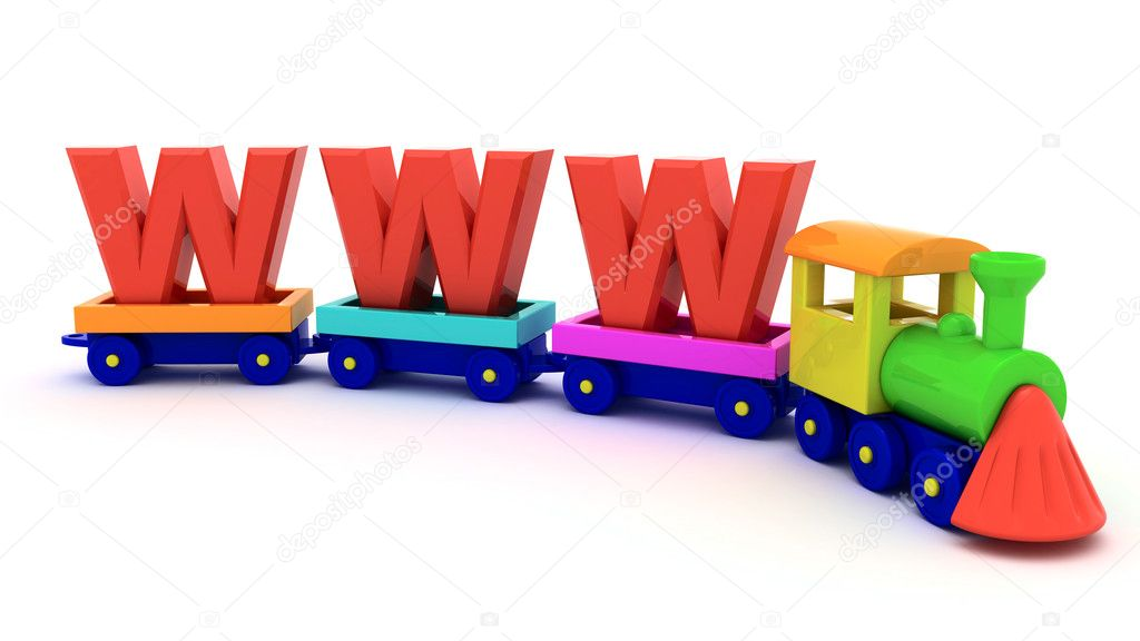 Red letters WWW on the toy train — Stock Photo #5423252