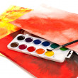 Stock Photo: Water color paints