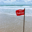 Red flag on the beach - Stock Photo
