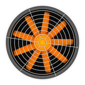 Fan with orange blades — Stok fotoğraf