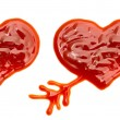 Hearts made of ketchup — Stock Photo