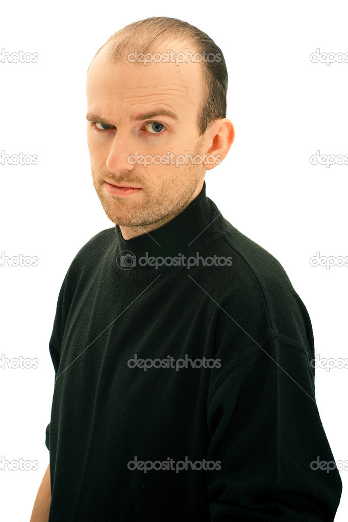 Man in black has inquiring sight — Stock Photo #6278202