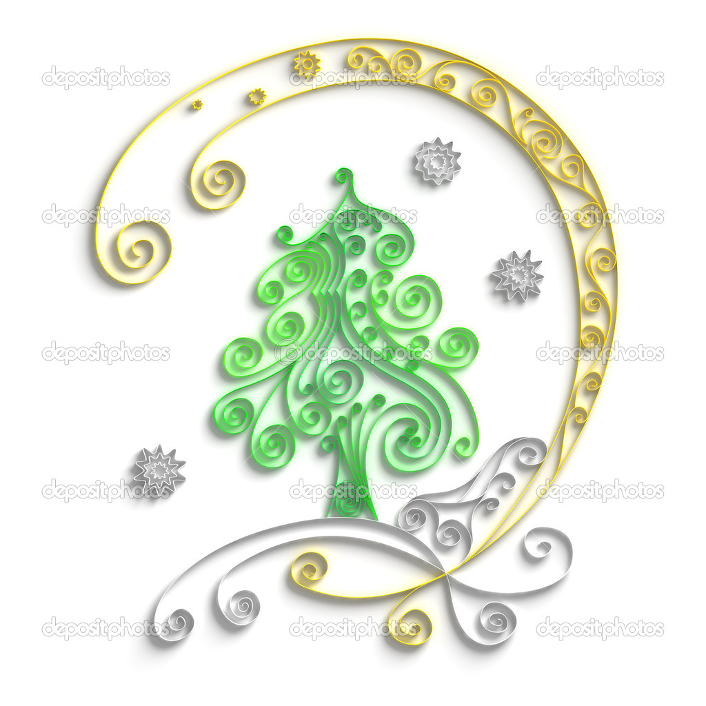 Ornamental design of christmas tree on white background, 3d quilling artwork — Stock Photo #6658704