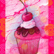 Cupcake With Pink Icing on Colorful Background - Stock Photo