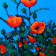 Stock Photo: Bright Red Poppies: Acrylic Painting