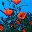 Bright Red Poppies: Acrylic Painting - Stock Photo