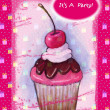 Cupcake on Hot Pink: Party Invitation — Stock Photo