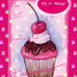 Cupcake on Hot Pink: Party Invitation - Stock Photo
