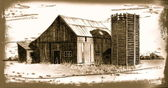 Wooden Barn and Silo: Sepia Drawing — Stock Photo
