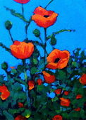 Bright Red Poppies: Acrylic Painting — Stock Photo