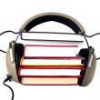 Old style headphones and books — Stock Photo