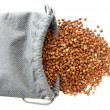 Bag with buckwheat - Stock Photo