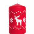Red candle with deer — Stockfoto