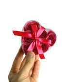 Scatola cuore con sapone rosa — Foto Stock