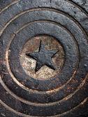 Grunge sewer manhole — Stock Photo