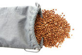 Bag with buckwheat — Stock Photo