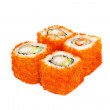 Sushi set - four rolls with red caviar — Stock Photo