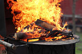 Voorbereiding voor het koken barbecue — Stockfoto
