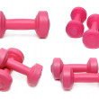 Dumbbells set isolated on white — Foto Stock
