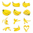 Ripe bananas set - Stock Photo