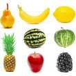 Fruits set isolated - Stok fotoğraf