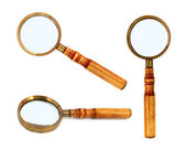 Old style magnifying glass isolated — Stock Photo