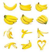 Zralé banány sada — Stock fotografie