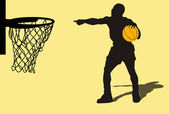 Silhouette of a basketball player, playing a game — Stock Photo