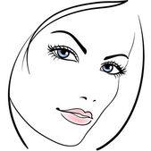 Beauty girl face vector icon — Stock Vector