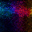 Multicolor abstract lights disco background. Square pixel mosaic - Stock Vector