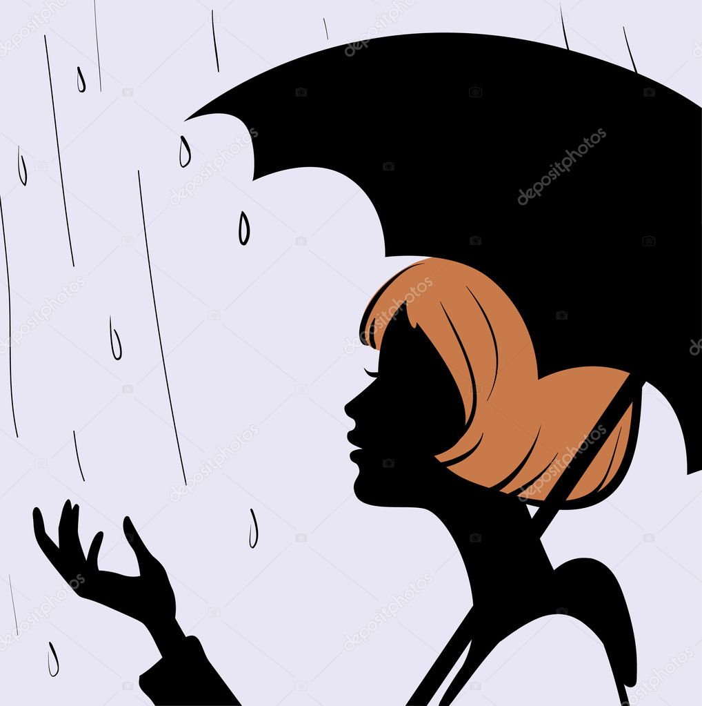 Beautiful young girl face silhouette with black umbrella on rainy day  — Stock Vector #5471592