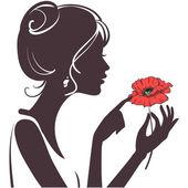 美丽的女孩剪影与红罂粟 — 图库矢量图片
