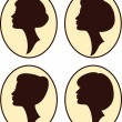 Vector beautiful women and girl silhouettes with different hairs - Stock Vector