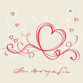 Heart red ribbon. Valentine`s day card — Vector de stock