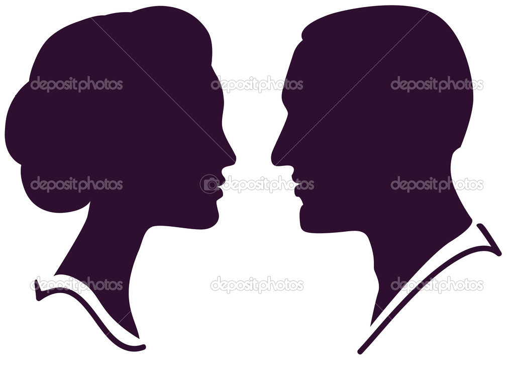 Man and woman face profile, vector male female couple — Stock Vector #5596589