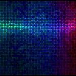 Multicolor abstract licht disco achtergrond. vierkante pixel mozaïek — Stockvector