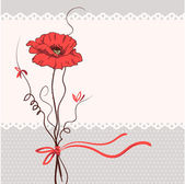 Red poppy floral card background — Stock Vector