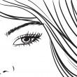 美しい少女の目と長い髪 — ストックベクタ
