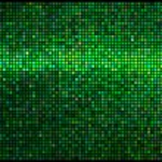 Multicolor abstract licht groene disco achtergrond. vierkante pixels — Stockvector