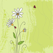 Ladybug on chamomile flower and grunge green grass background — Stock Vector