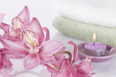 Spa concept still life with orchid — Stock Photo