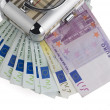 Euro money in a box on a white background. — Stock Photo