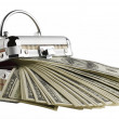 One hundred dollar bills in a box on a white background — Stock Photo
