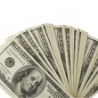One hundred dollar bills   on a white background - Foto Stock