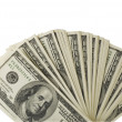 Stock Photo: One hundred dollar bills on white background