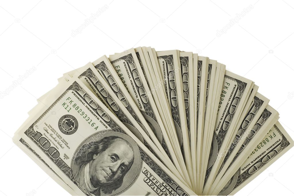One hundred dollar bills on a white background. — Stock Photo #6321365